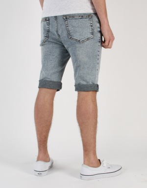 Route One Slim Denim Roll Up Shorts - Acid Wash