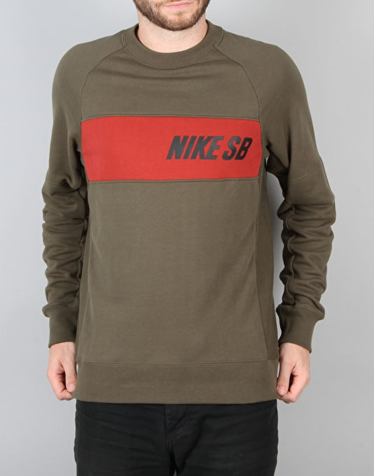 Nike SB Everett Graphic Crew Top Sweat - Cargo Khaki/Dk Cayenne/Black