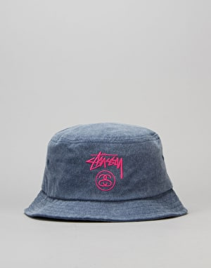 Stüssy Stock Lock Pigment Dye Bucket Hat - Navy