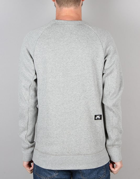 Nike SB Icon Fleece Sweatshirt - Dk Grey Heather/Black