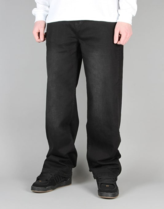 route one baggy denim jeans black skate jeans mens