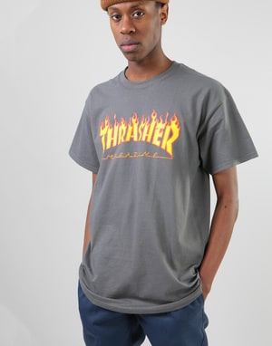 Thrasher Flame Logo T-Shirt - Charcoal