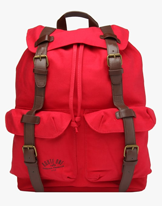 Route One Canvas Backpack - Red