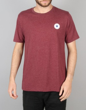 Converse Core Left Chest CP Crew T-Shirt - Deep Bordeaux Heather