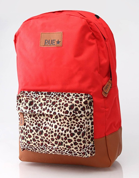RUE Premium Backpack - Red/Leopard