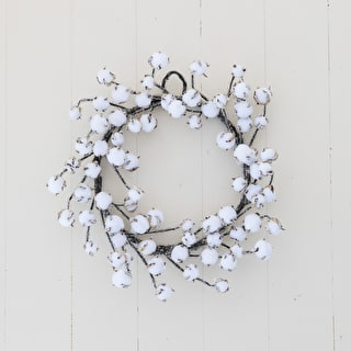 Iced Cotton Pod Wreath