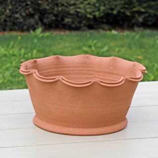 Terracotta Scalloped Bowls & Saucers