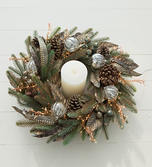 Burnished Fir and Feathers Wreath