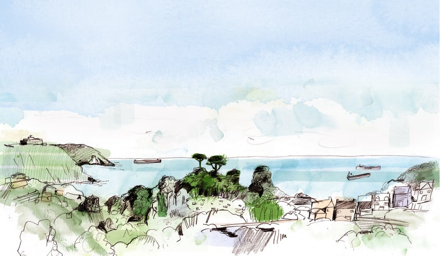 Seasalt illustration of the view from our design studios towards Falmouth Bay