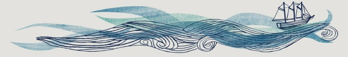 Seasalt illustration of a boat and some waves