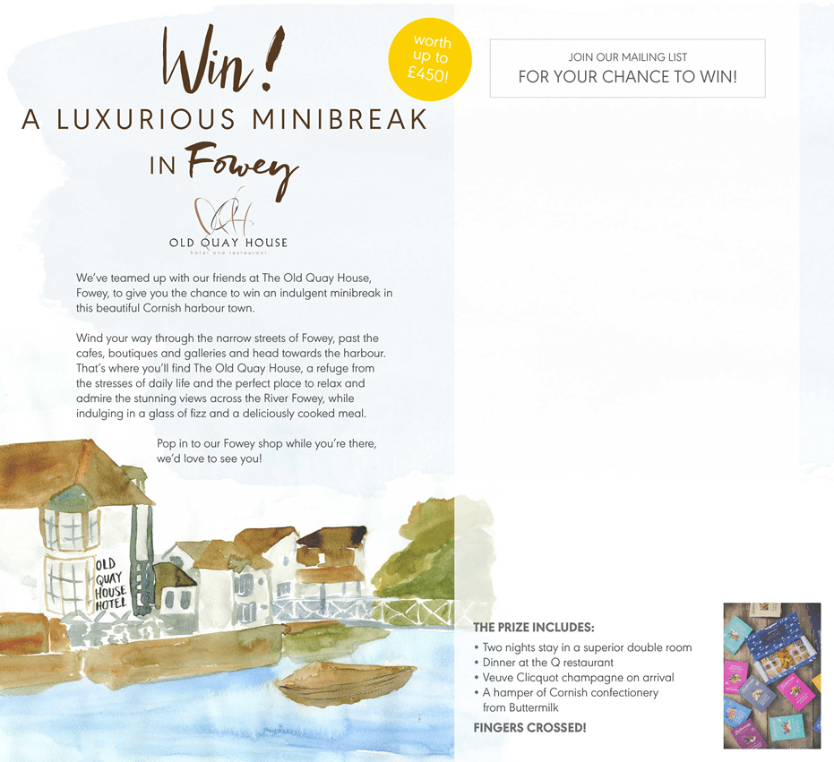 Win your Seasalt luxurious minibreak in Fowey at the old quay house