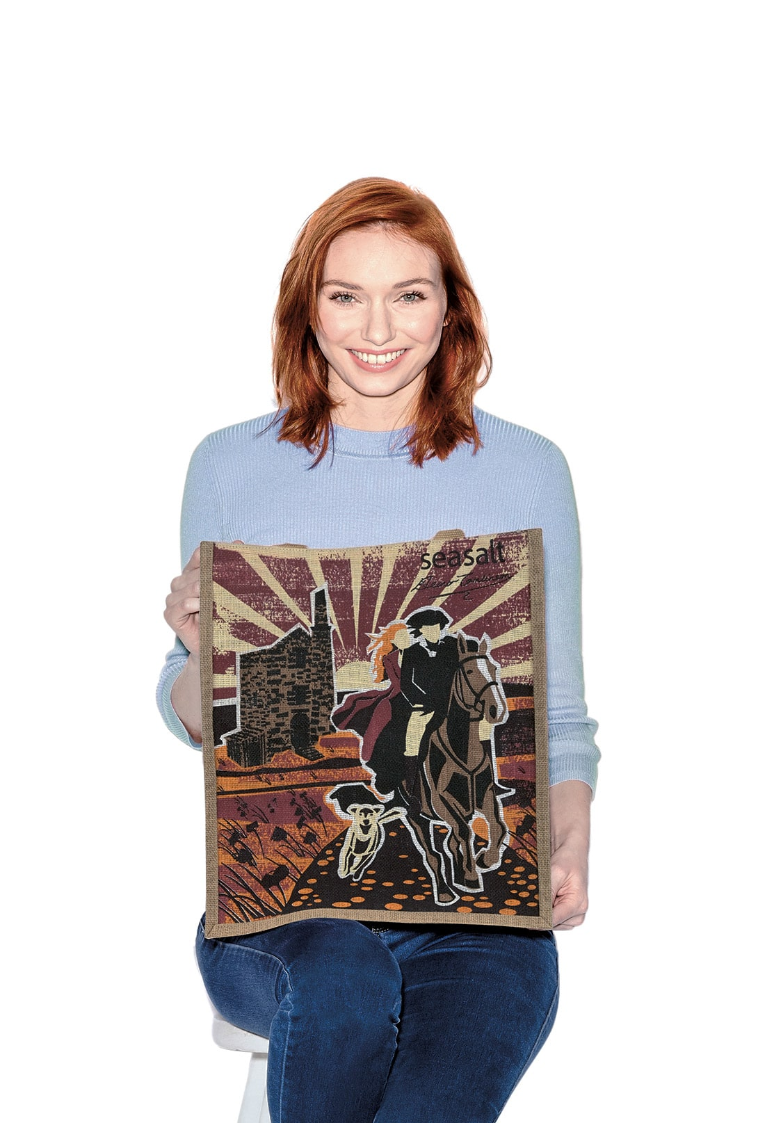 Eleanor Tomlinson with her Poldark inspired Seasalt Charity Jute Bag