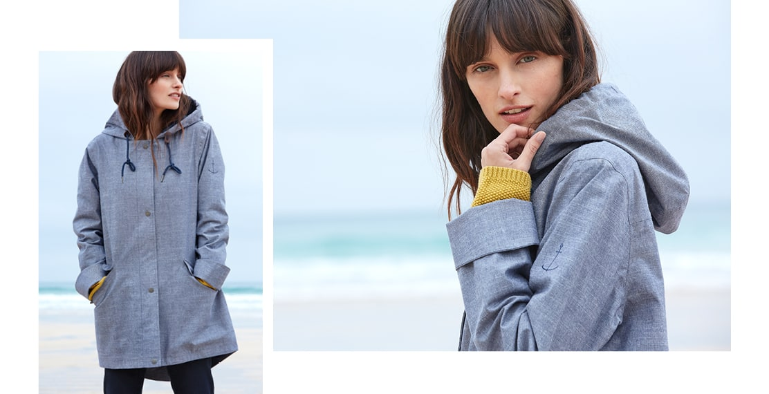 Lady wearing the Sail Maker Jacket on the beach
