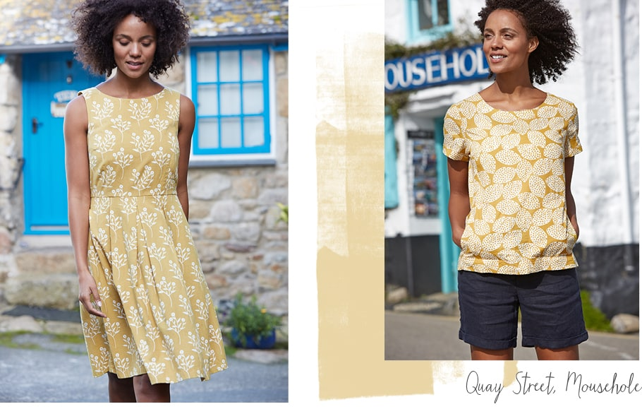 Lovely golden dress & top with floral patterns on location in Mousehole, Cornwall
