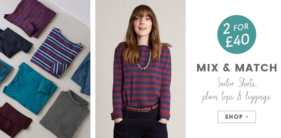 2 for £40, Mix & Match. Sailor Shirts, Plain tops & leggings