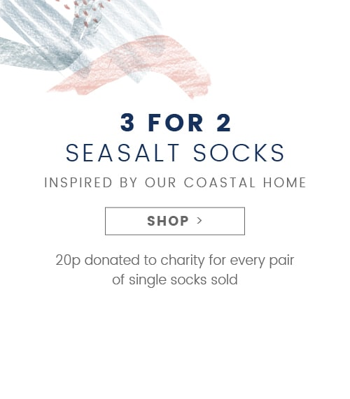 3 for 2 Seasalt Socks - 20p donated to charity for every pair of single socks sold