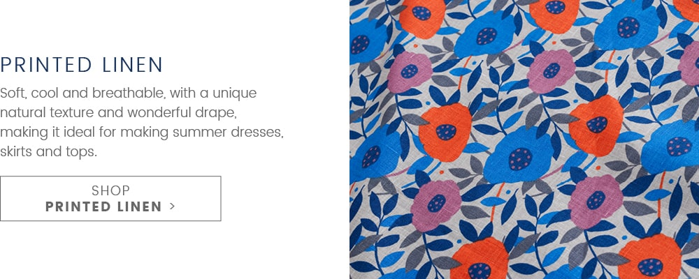 Printed Linen. Soft, Cool and breathable, with a unique natural texture and wonderful drape. making it ideal for making summer dresses, skirts & tops. SHOP