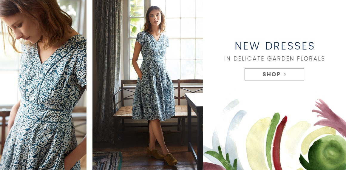 New Dresses in delicate garden florals. Shop.