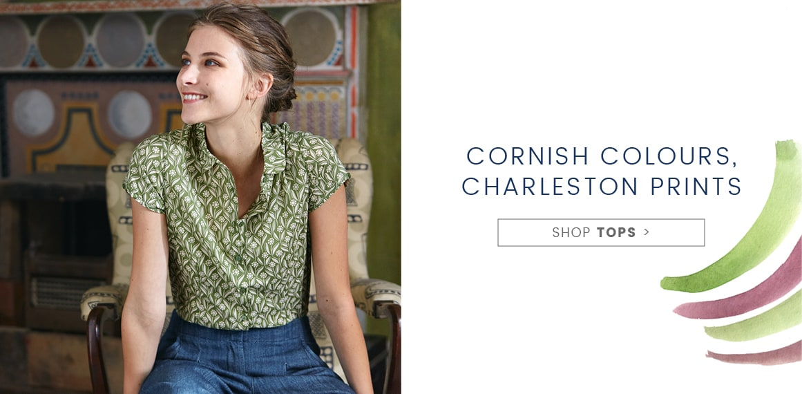 Cornish Colours, Charleston prints, Shop Tops
