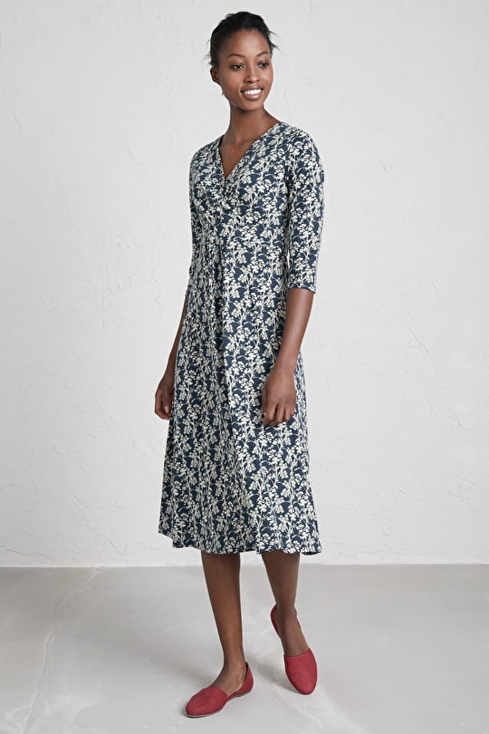 Chacewater Dress, Midi-Length A-line Cotton Dress