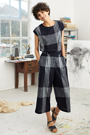 Sandrine Top, Yarn-dyed Checked Top - Seasaly Cornwall