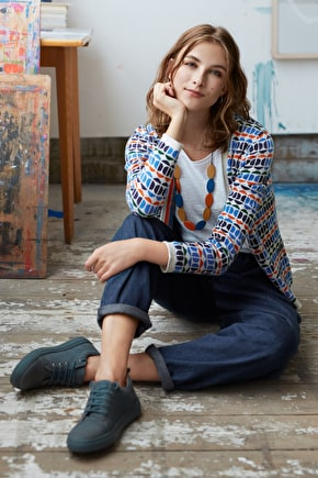 Bosporthennis Cardigan, Geometric Jacquard Knit - Seasalt Cornwall