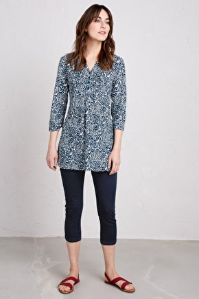 Semi Fitted Organic Cotton Longline Womens Tolcarne Tunic - Seasalt
