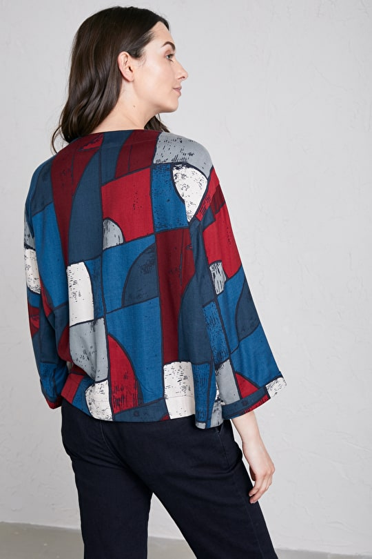 Feature Film Top, Lightweight Drapey Cotton Viscose Twill Shirt