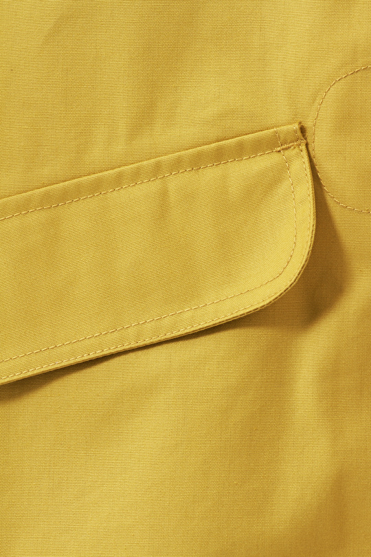 Original Seafolly Jacket. Short Lightweight Yellow Tin Cloth Womens Coat, Close up of Tin Cloth Material.