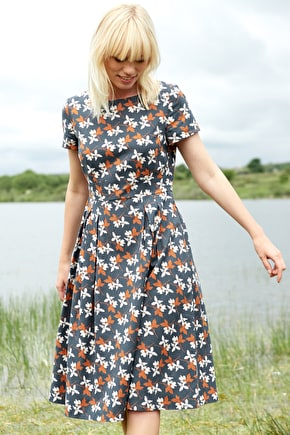 Stepping Stone Dress, Textured Cotton Barkcloth '50s-Style Dress