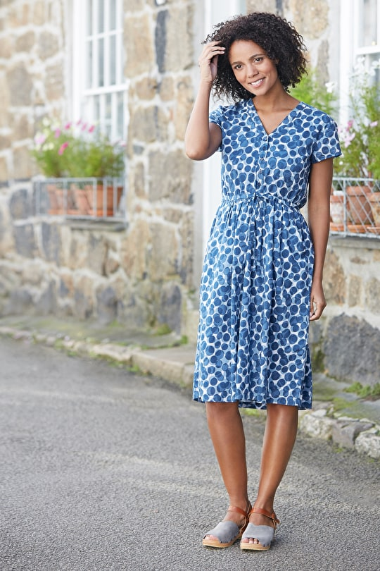 Soft Cotton Fit and Flare Long Shallot Dress - Seasalt
