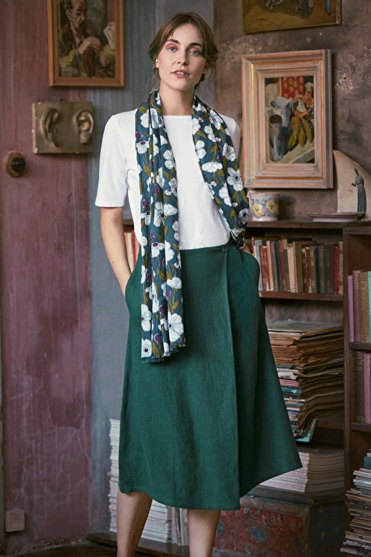 Art Studio Skirt, A-line Shaped Wrap Cotton Skirt - Seasalt Cornwall