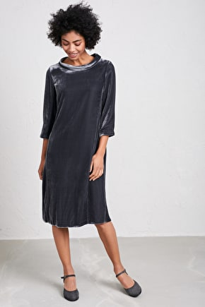 Clifton Hill Dress, Relaxed Silk Velvet Shift Dress - Seasalt Cornwall