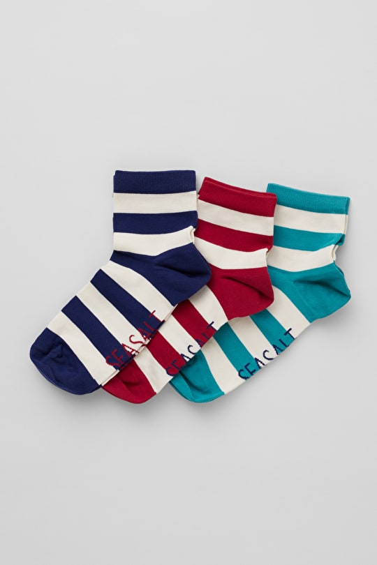 Women's Cornish Striped Ankle Socks, Box of 3