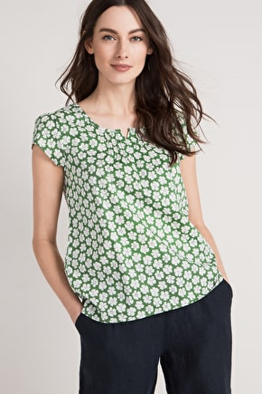 Garden Gate Top, Cotton Viole T-shirt - Seasalt