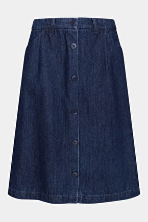 Alidade Skirt - Dark Wash Denim Flared Skirt - Seasalt