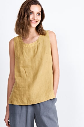 Mountboard Top, Linen Sleeveless Shell Top - Seasalt