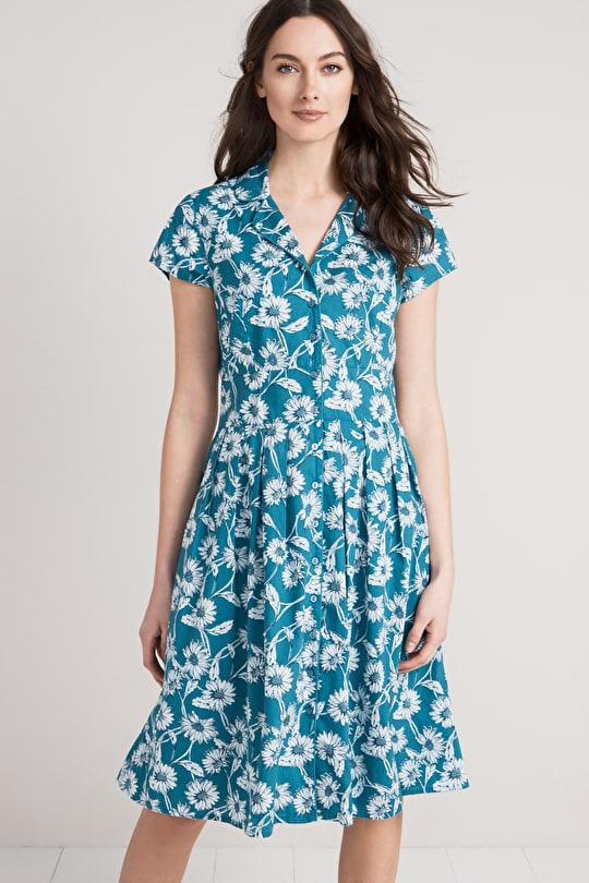 Printed Cotton Fit and Flare Pleated Tea Lottie Dress - Seasalt