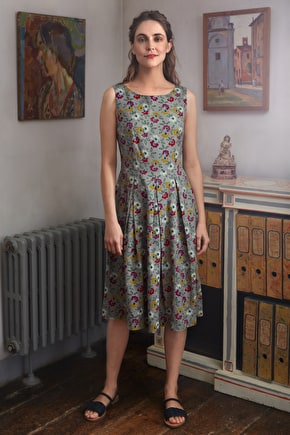 Merthen Dress, A Long Summer Cotton Pleated Dress - Seasalt
