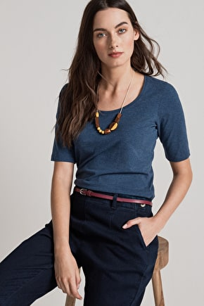 Carrick Cotton Melange T-shirt Top - Seasalt