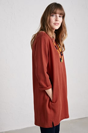 Stone Carving Tunic, A Throw-on Soft Cotton Longline Sweatshirt