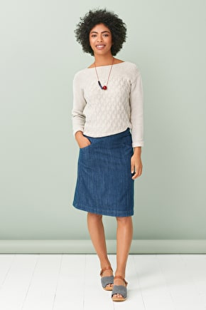Chapel View Skirt, Cotton Twill Denim Long A-line Skirt - Seasalt Cornwall
