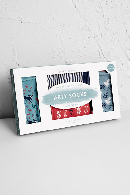 Arty Patterned Organic Cotton Ankle Socks Gift Box - Seasalt