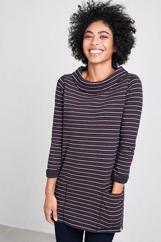 Reversible Tunic Top. In Soft Organic Cotton - Seasalt