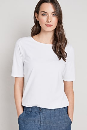 Organic Cotton Boat Neck Poisson T-Shirt Top - Seasalt