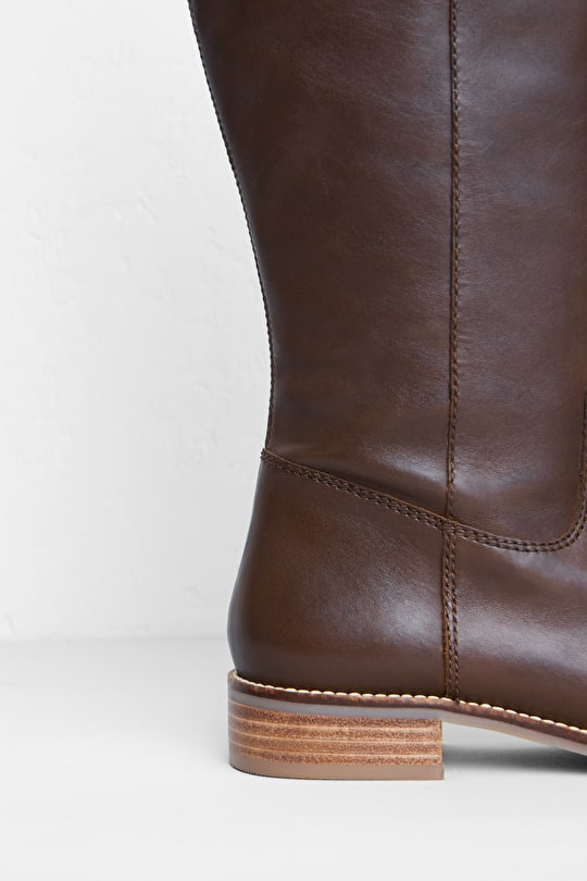 Red River Boot. Leather, Low Heeled Long Boot