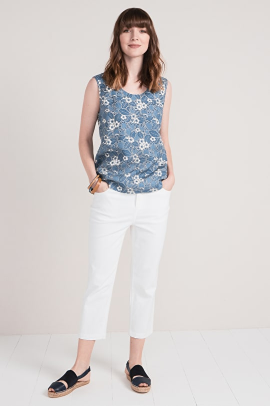 Dreamscape Top, Relaxed Sleeveless Shell Top - Seasalt