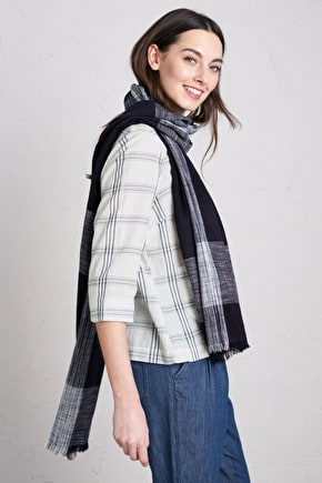 Eight Bells Scarf, Indigo Checked Cotton Scarf - Seasalt Cornwall