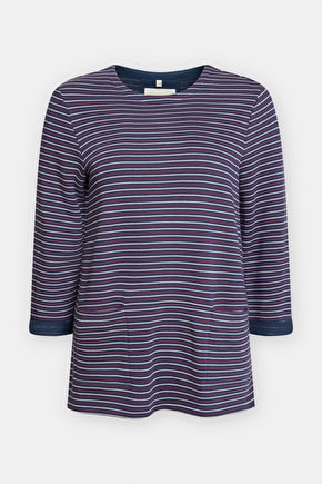 Trewethan Sweatshirt, Soft Cotton Striped Jumper