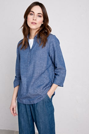 Cotton and Linen Mooring Port Top, Long Womens Shirt - Seasalt